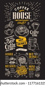 Coffee restaurant menu vector drink flyer for bar and cafe on blackboard background. Design template with vintage hand-drawn food illustrations.