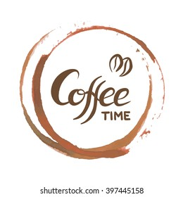 Coffee ring stain for cafe card, logo, list, menu. Vector isolated coffee stain rings. Coffee cup bottom circle stain for coffee time logo design. Brown watercolor mug mark