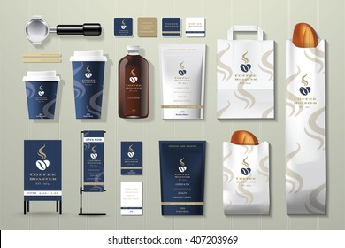 Coffee roaster corporate identity template design set on wood background