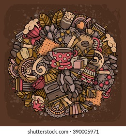 Coffee Round Design in Outline Hand Drawn Doodle Style with Different Objects on Coffee Theme. All elements are separated and editable. Vector Illustration.