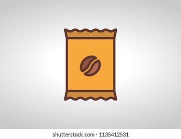 Coffee sachet icon, filled line icon