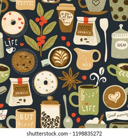 Coffee seamless pattern with cappuccino, cups, seeds arabica, milk, donuts, cookie, anise and sugar. Vector illustration in flat retro style on dark background.