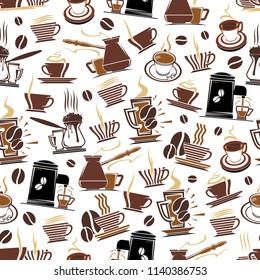 Coffee seamless pattern of coffee cups, makers for cafeteria design. Vector background of coffee beans, hot tea mugs with steam and chocolate drinks pattern for coffeeshop