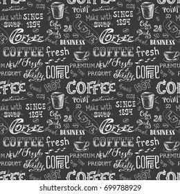Coffee seamless pattern, hand drawn lettering and sign on black background , vector illustration.