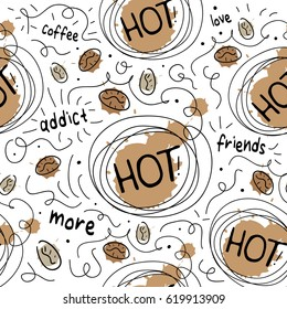 Coffee seamless pattern texture print design