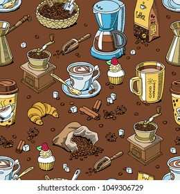 Coffee set coffeebeans and coffeecup vector drink hot espresso or cappuccino in coffeeshop and mug with caffeine in bar illustration seamless pattern background