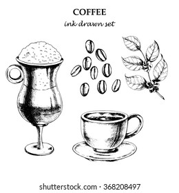 Coffee set with cup of espresso, Latte in glass, branch of coffee, coffee beans. Hand drawn vector illustration in vintage style. Sketch art. Ink drawn.