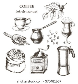 Coffee set with cup of coffee espresso, coffee mill, coffee pot, Latte in glass, coffee branch, coffee beans, bad of coffee, scoop of coffee. Hand drawn vector illustration in sketch style. Ink drawn.