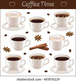 Coffee set with different coffee cups, coffee beans, stars anise and sticks of cinnamon isolated on white background. Vector illustration.