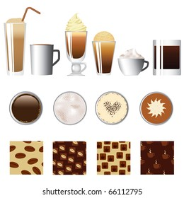 coffee set - different kind of coffee, seamless coffee patterns
