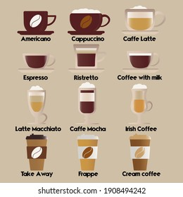 Coffee set for different uses different types of coffee EPS 10 editable