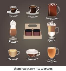 Coffee set. Espresso, americano, hot chocolate, frappe, latte, flat white, cappuchino, caramel macchiato. Cafe menu Vector illustration