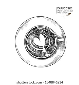 Coffee set. Hand drawn coffee cup from above. top view of mug of cappuccino or latte. Vector engraved icon. Morning fresh drink. For restaurant and cafe menu, coffee shop flyer, banner design template.