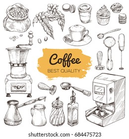 Coffee. Set of hand drawn elements, vintage sketch vector illustration, including  Coffee grinder, syrup, creamer, milk blender, portafilter, tamper, bag with coffee beans, cup cake, cappuccino.