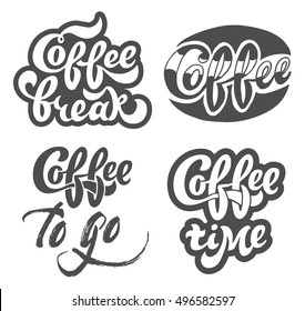 Coffee set hand drawn lettering for restaurant, cafe menu, shop.