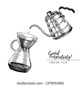 Coffee set. Hand drawn pour over and coffe kettle. Alternative brewing method. Barista equipment. Vector engraved icon. Morning fresh drink. For restaurant and cafe menu, coffee shop design template