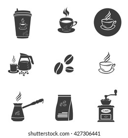 Coffee set icons. Flat vector illustration in black on white background.
