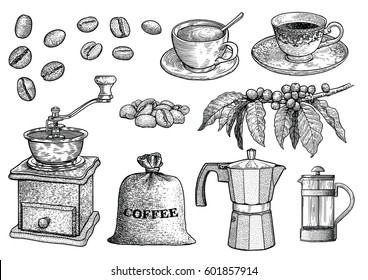 Coffee set illustration, drawing, engraving, ink, line art, vector