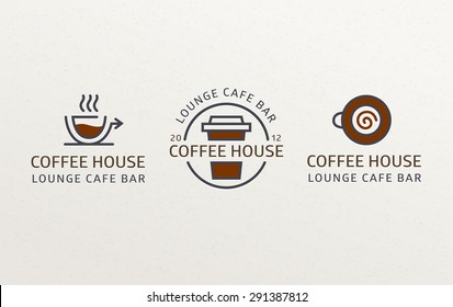Coffee Set Logos template  calligraphic ornament lines. Business sign, identity for Restaurant, Cafe, Royalty, Boutique, Heraldic, and other vector illustration