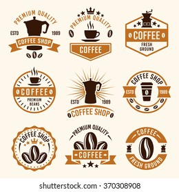 Coffee set of nine colored vector labels, badges, emblems and logos, templates in vintage style for shop or restaurant