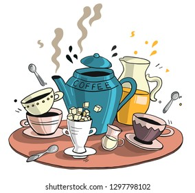 coffee set on a tray - coffee jar, milk, orange juce with coffee cups and sugar - hand drawn vector illustration