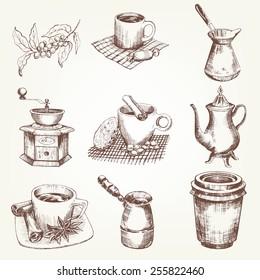 Coffee set. Pen sketch converted to vectors.