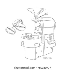 Coffee set. Roasting coffee machine. Pencil sketch in vector illustrator on white background.