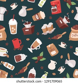 Coffee set seamless pattern vector illustration with cartoon cappuccino, cups, seeds arabica,cinnamon, milk, coffee pot, cookies, anise and sugar for coffee house service.