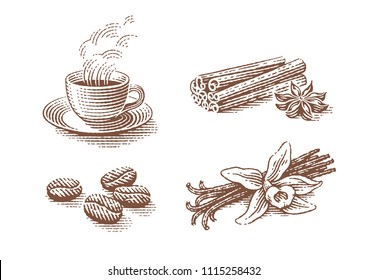 Coffee set. Vanilla, anise, cinnamon, coffee beans and cup of hot drink. Hand drawn engraving style illustrations.