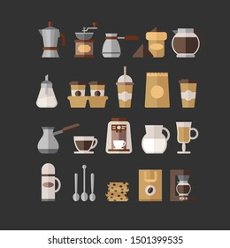 Coffee set of vector objects. Ready for restaraunt or cafe and for food design. Coffee various items in flat style.