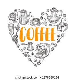 Coffee. Shape of a heart. Various elements. Hand drawn vector illustration. Can be used for cafe, farmers market, shop, bar, restaurant, poster, label, sticker, logo, badges.