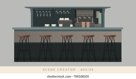Coffee shop bar counter and bar chairs. Isolated objects. Interior scene creator set.