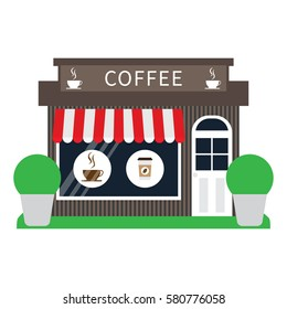 Coffee shop building facade in flat style. Vector illustration