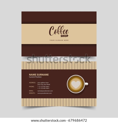 Coffee shop business card design template stock vector royalty free coffee shop business card design template wajeb Choice Image