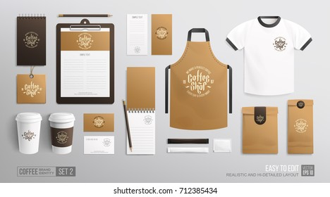 Coffee shop, Cafe, restaurant corporate identity branding Mockup template. Business set Coffee MockUp of uniform, apron, corporate t-shirt, plastic cup, package, notepad, menu, business card