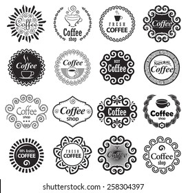 Coffee Shop Design Elements in Vintage Style. Set of Monochrome Vector Coffee Labels