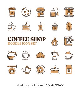 Coffee shop doodle vector icons. Cafe hand drawn pictograms.