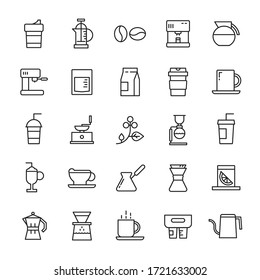 Coffee shop and coffee drip 25 line icons vector
