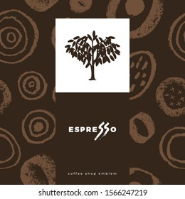 Coffee shop emblem, cafe menu with repeated brush stroke texture, packaging design, organic coffee logo, take away coffee, 100% arabica badge. Abstract seamless pattern, vector creative background.