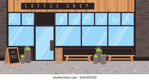 Coffee shop exterior. Vector flat illustration. Modern design with black bricks, wood and concrete.