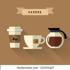 Coffee Shop flat design with long shadow