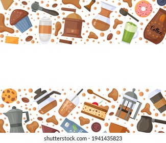Coffee shop frame with coffee maker elements, sweets and different type of coffee. Design for menu, logo, packaging, poster, banner, print. Vector illustration.