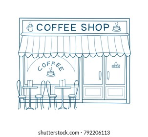 Coffee shop front vector illustration on hand drawn style. Line drawing of the front of cafe and restaurant
