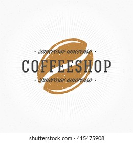 Coffee Shop Hand Drawn Logo Template. Vector Design Element Vintage Style for Logotype, Label, Badge, Emblem. Coffee Logo, Coffee Bean Logo, Coffee Symbol, Coffee Icon, Retro Logo.