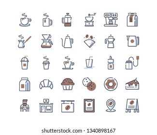 Coffee Shop Icon Set. Color-Line Icons