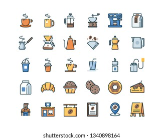 Coffee Shop Icon Set. Filled Outline Icons.