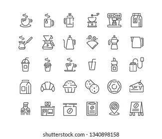 Coffee Shop Icon Set. Line Icons.