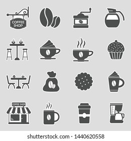Coffee Shop Icons. Sticker Design. Vector Illustration.