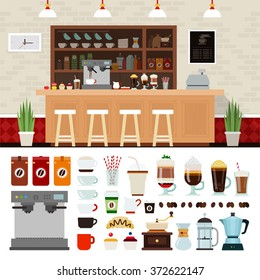 Coffee shop illustration set with coffee shop background design elements, Infographics of coffee