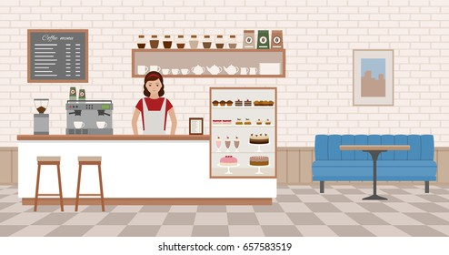 Coffee shop interior. Young woman standing behind bar counter. Flat design vector illustration.